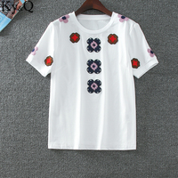 2017 Ky Q New Brand Luxury Solid T Shirts For Female Floral Embroidery O Neck White