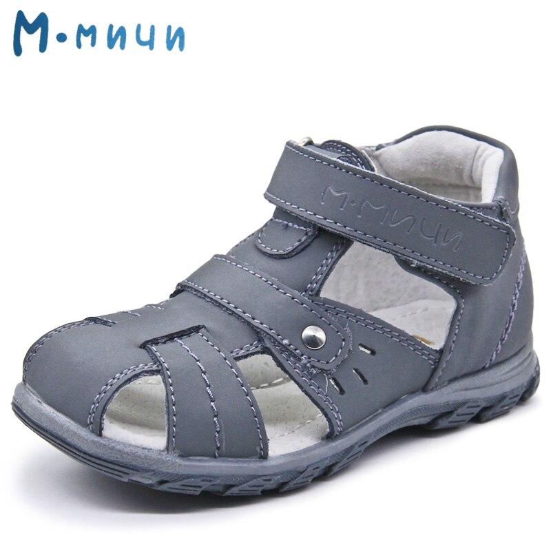 Mmnun Summer Kids Sandals Boys Brand Children Boys Sandals Closed Toe Sandals for Boys Genuine Leather Kids Sandals Size 26-31