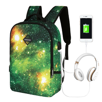 Starry Sky Printing With USB Interface for Multifunction USB Charging Earphone Charging Laptop Backpack and Laptop Bag Daypack grande bolsas femininas de couro