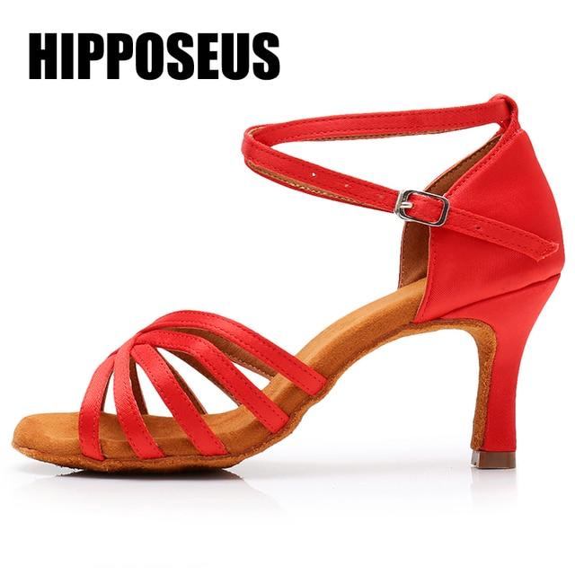 סלוניים חדש מקצועי לטיני ריקוד נעלי לנשים/בנות/גבירותיי טנגו & סלסה עקבים גבוהים ריקודים מקורה סאטן/ PU לבן אדום