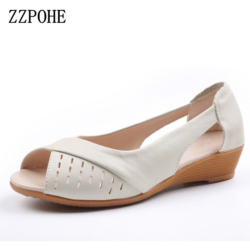ZZPOHE Women Shoes 2017 Summer New Fashion Genuine Leather Woman Sandals Plus Size Ladies Flats Sandals Female Sandals new 2017 spring summer women shoes pointed toe high quality brand fashion womens flats ladies plus size 41 sweet flock t179