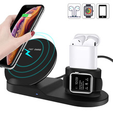 3 в 1 W10W Быстрая Зарядка Qi Беспроводное зарядное утройство для телефона с подставкой для iPhone Xs/Xs Max/XR/iPhone X/8/8 Plus/samsung S9 S8 + Apple iWatch серии 1/2/3/4