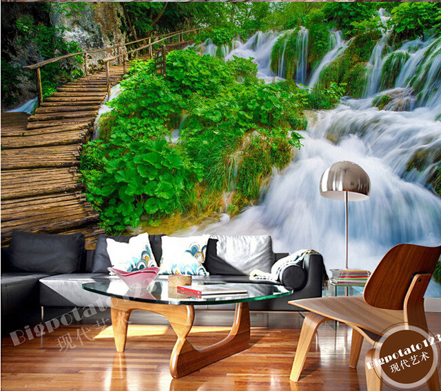 Custom 3D Muralsbeautiful Forest Wood Path Green Waterfall Scenery Living Room Sofa