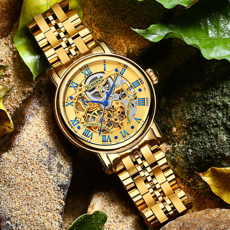 BINGER Luxury Gold Orologi automatici Scheletro Fashion Business Watch Uomo Orologio da polso meccanico Full acciaio relogio masculino
