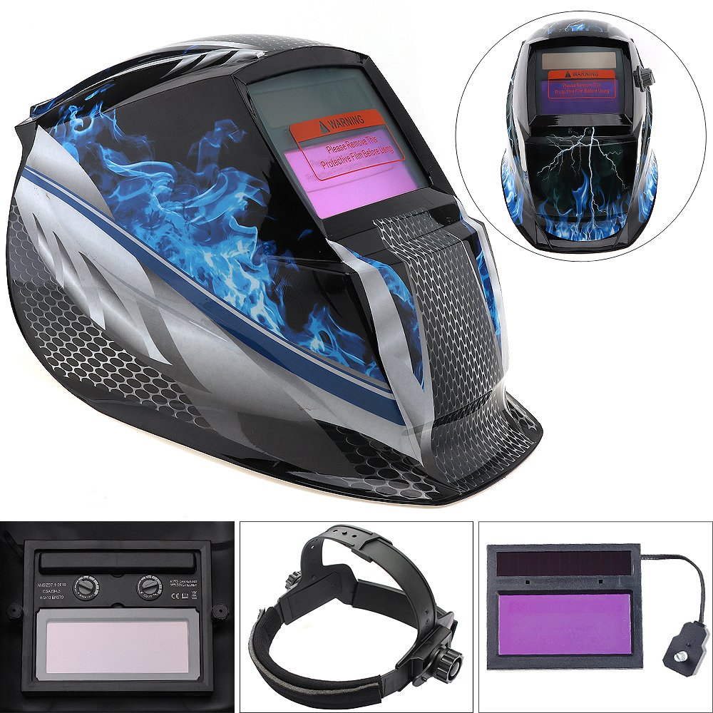 Blue Fire Adjust Solar Auto Darkening TIG MIG Grinding Welding Helmets / Face Mask / Electric Welding Mask ck tech auto darkening welding helmets electric welding hood mask tig mig arc welding face shields optical filter 3116