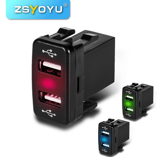 High Cost-Effective 12-24V Dual Port USB Car Charger With Led Light 5V 4.2A Fast Car Charger For Toyota Corolla / Prado / Reiz