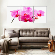 Art deco realistic moth orchid flower canvas painting home art prints 3 psc country wall pictures for corridor washroom bar
