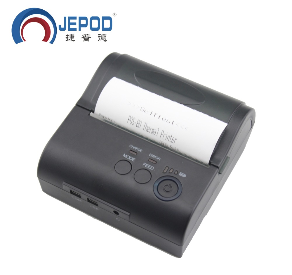 JP-80LYA JEPOD freeshipping 80mm Mobile Portable Thermal Receipt Printer Android IOS Bluetooth Printer Mini Android Printer portable wifi receipt printer mobile 80mm mini impressora termica android with 2500mah rechargeable battery thermal printer