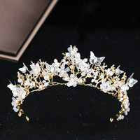 2018 New Butterfly Flower Wedding Tiara Crowns Pearl Bridal Headpiece Wedding Hair Accesories Gold Princess Bride Hairbands