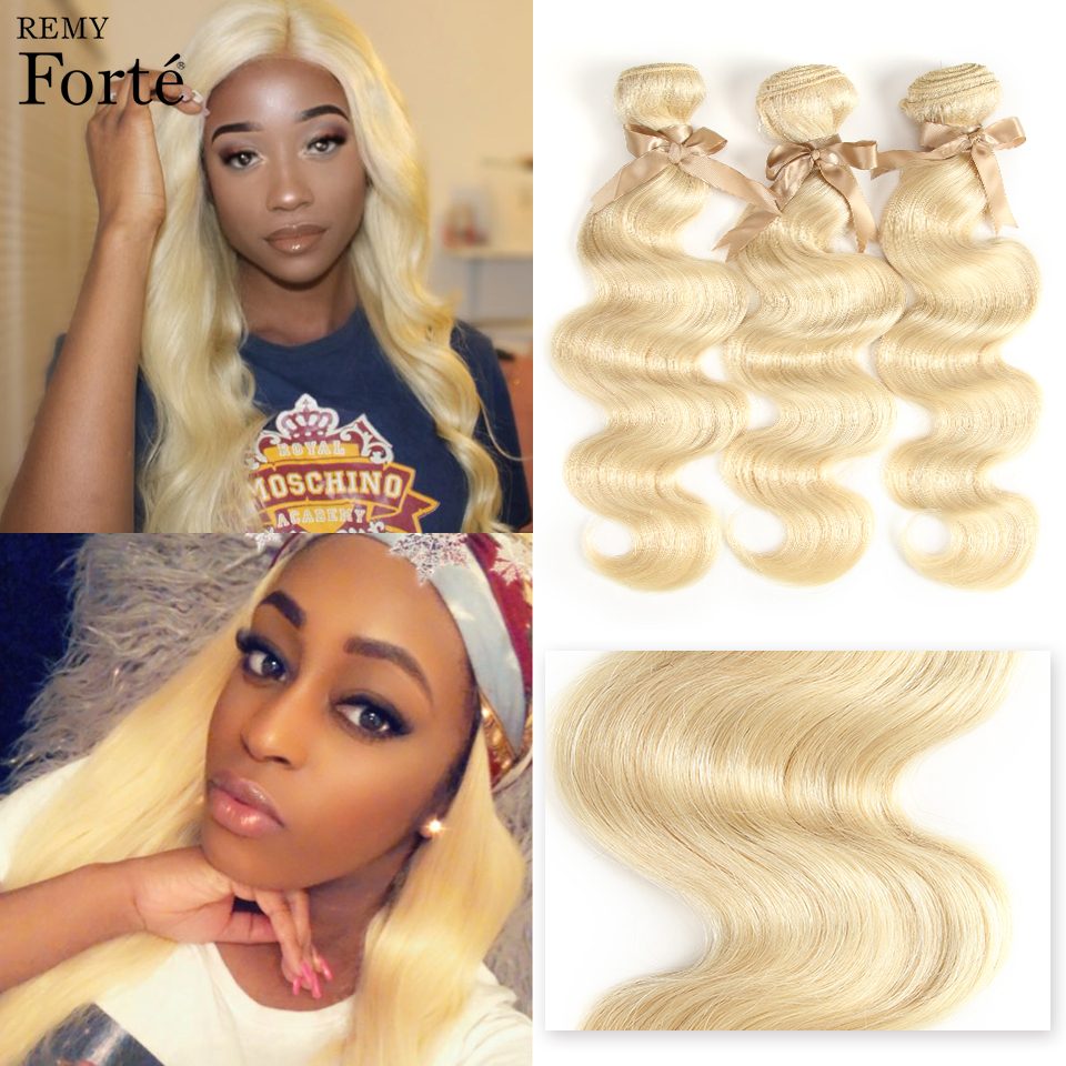 Remy Forte 26 Inch Bundles Hair Extension Brazilian Hair Weave Bundles 613 Blonde Bundles Body Wavy Single Bundles Hair Vendors