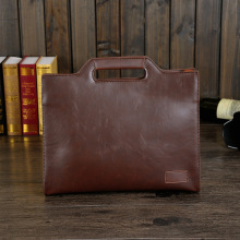 Crazy horse leather portable male bag shoulder bag men's casual business briefcase designer messenger bag
