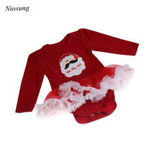 Niosung Newborn Christmas Infant Baby Girl Romper Tutu Dress Sets 4Pcs Outfits Clothes Jumpsuit Baby Gift for Christmas Party