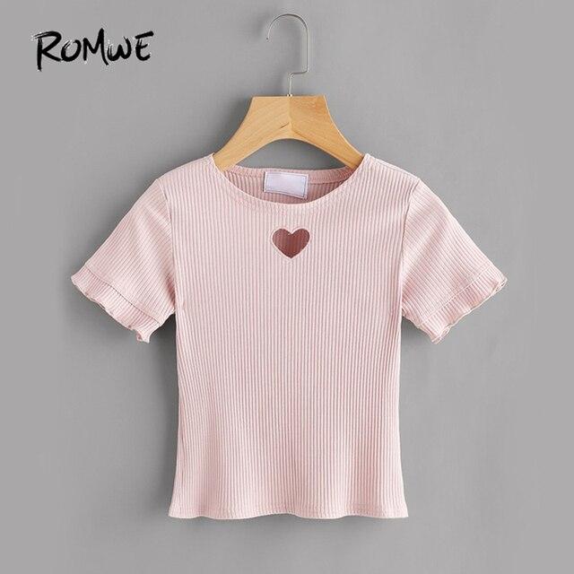 50d7d9b74e376 € 9.08 45% de réduction|ROMWE mignon coeur coupe T shirt rose côtelé Tee  femmes manches courtes doux été hauts mode bref évider basique T ...