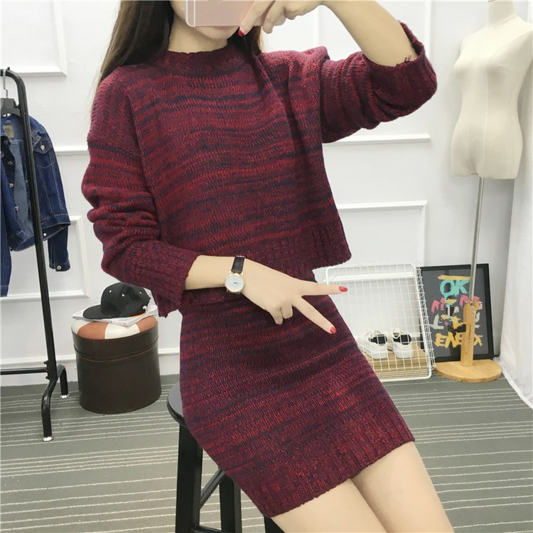 2018 Autumn Women Two Piece Knitted Outfit Long Sleeve Pullover Sweater and Skirts Tracksuit