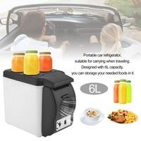 Portable 6L Car Truck Electric Refrigerator Truck Travel Household Refrigerator Min Multi Function Fridge Warmer Cooler