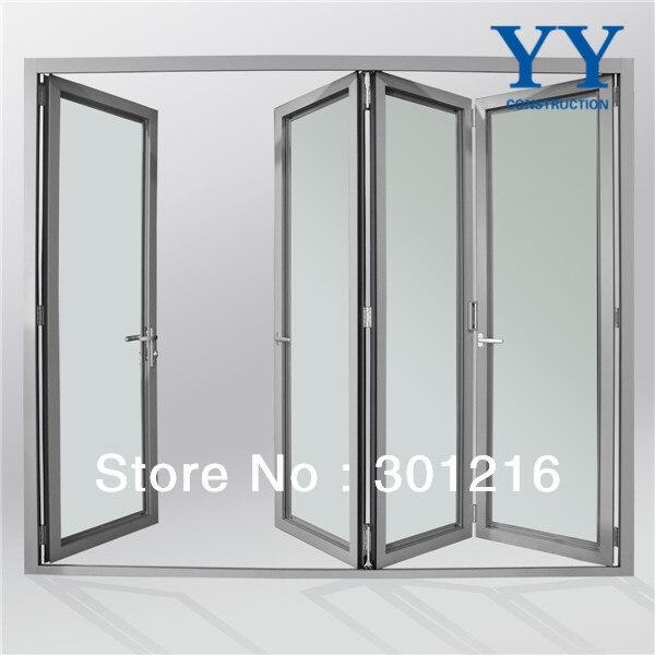 Aluminium gl door design gl mulit panel folding front door ... on