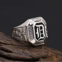 Solid Silver 925 Thick Band Rings Men Black Enamel Stone Gothic Lion Eagle 100% Real 925 Sterling Silver Jewelry Wide Ring Men