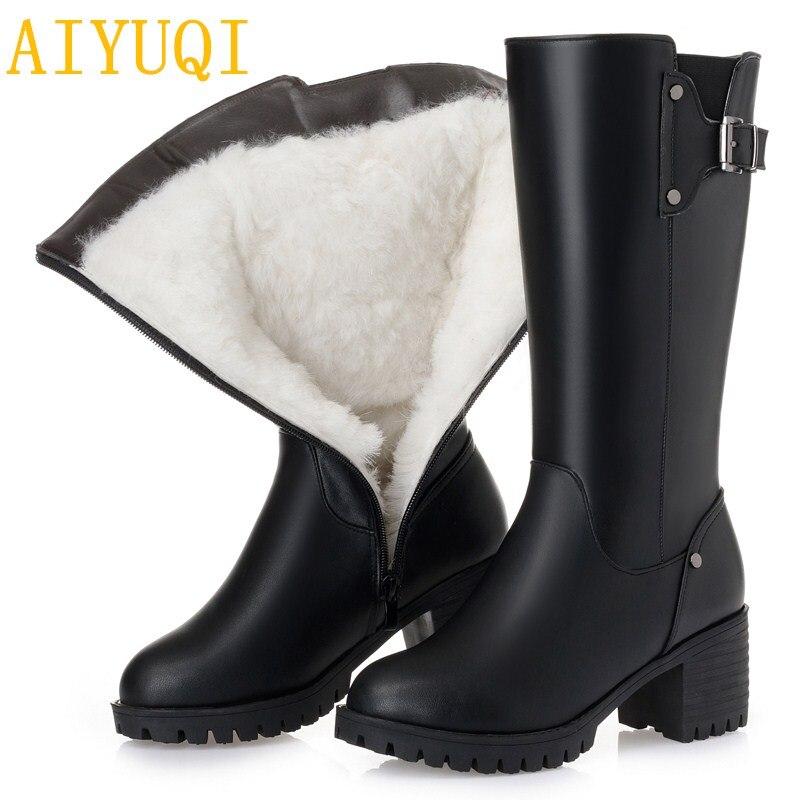 Ayakk.'ten Diz Altı Çizmeler'de AIYUQI Kadın botları büyük boy 41 42 43 2019 yeni hakiki deri kadın kışlık botlar, kalın yün sıcak kadın kar motosiklet botları'da  Grup 1