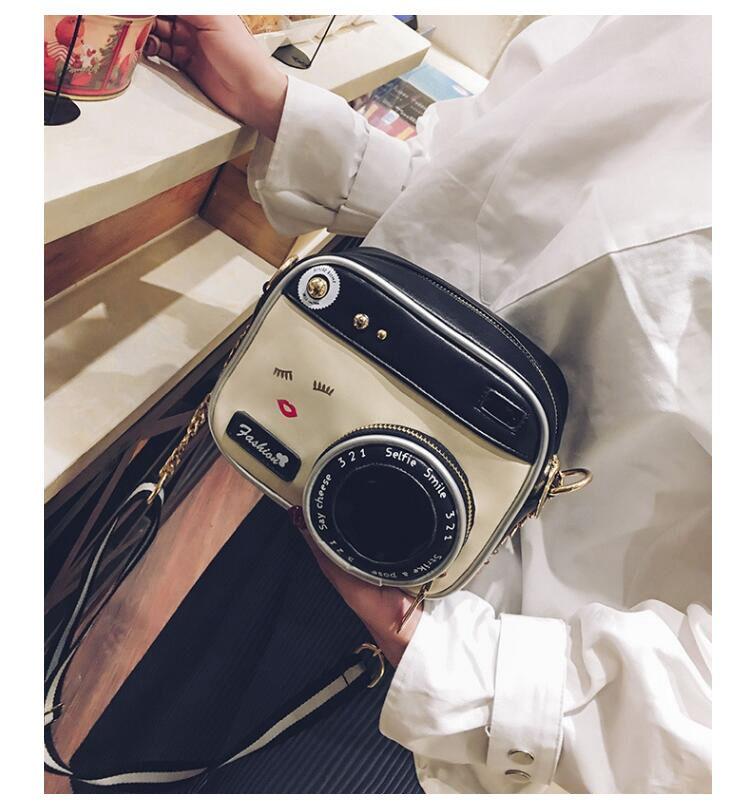 forma de câmera lábio bolsa compras bolsa mujer pequena aba F-18
