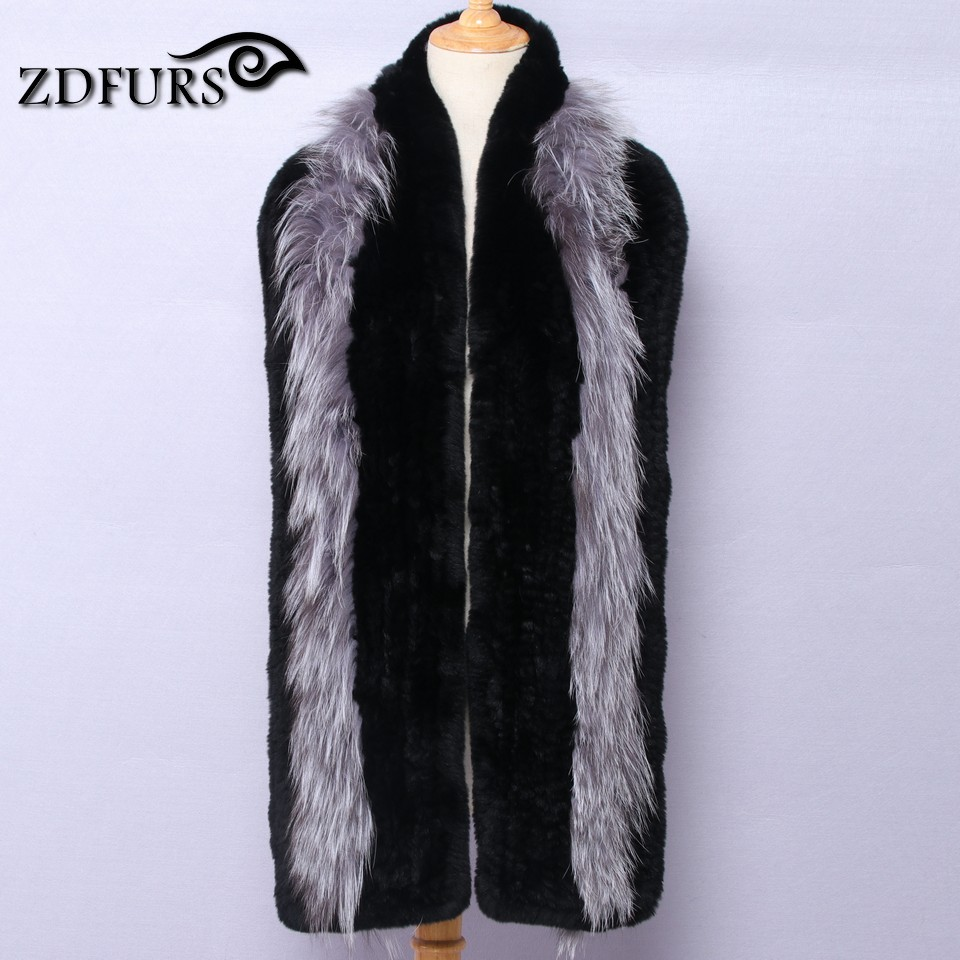 ZDFURS * 2017 New Women Genuine knitted Fox Fur scarf Real rex rabbit Fur scarf Winter Warm Neck Warmers stole free shipping