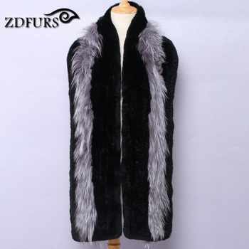 ZDFURS * 2017 New Women Genuine knitted Fox Fur scarf Real rex rabbit Fur scarf Winter Warm Neck Warmers stole free shipping - DISCOUNT ITEM  50% OFF All Category