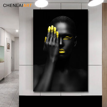 Canvas Prints Painting Modern Black Woman Model Wall Art Poster And Prints Pictures Home Decoration For Living Room No Frame(China)