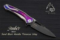 MAXACE&Midnight Cat Amber Folding Knife Pocket Knife Flipper VANADIS 10 steel Timascus/mokuti inserts Free FedEx Shipping