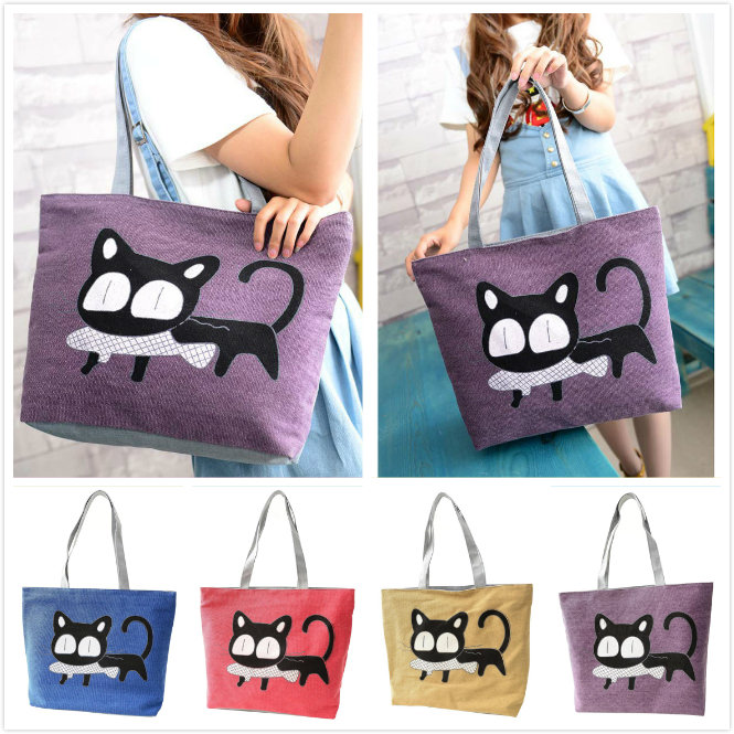 VSEN Hot Girl cat eat fish shopping bag Canvas Large Clutch Shoulder Ladies Casual Handbags beach tote Women bags handbags excelsior waterproof canvas casual zipper shopping bag large tote women handbags floral printed ladies single shoulder beach bag