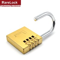Rarelock Brass Padlock Code Resettable Combination Lock 4 Group Code 0 9 Door Gate Cabinet Furniture