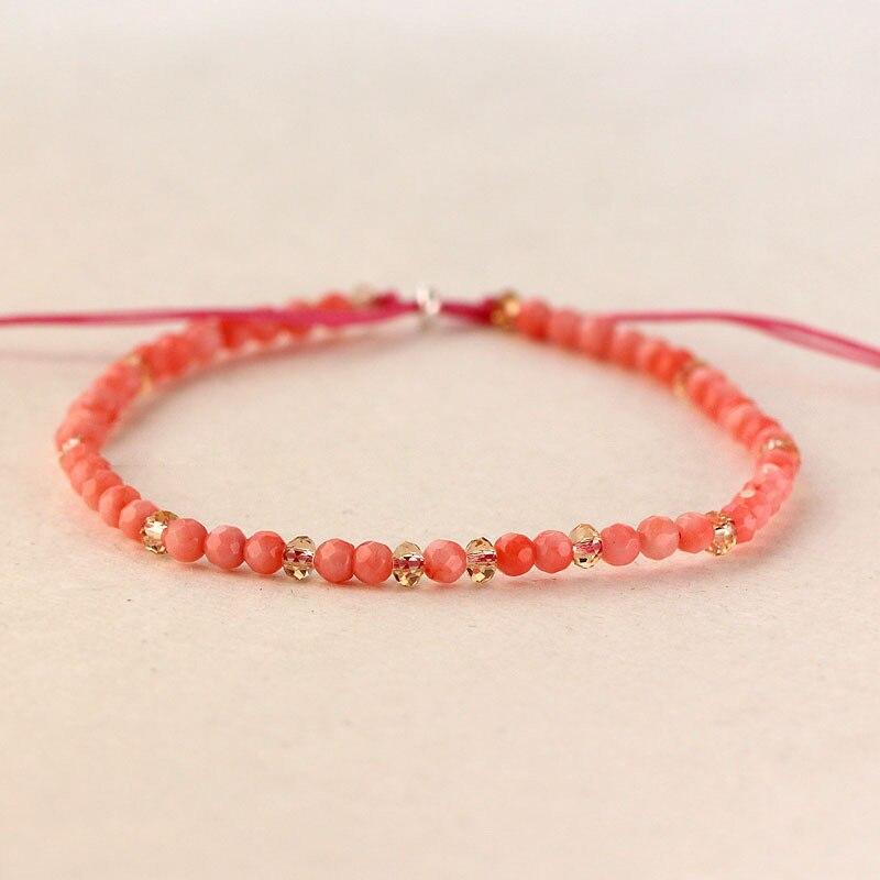 ef6f86445f40 Piedra Natural minimalista pequeñas cuentas pulseras para mujer corallita  Rosa 3mm cristal hecho a mano hebra pulsera encanto DIY joyería