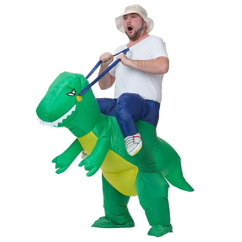 Inflatable Green Dinosaur Adult Costume Ride-on Animal Fun Toy Halloween For Man Women Party Dress Cosplay Clothes Free Shipping ...
