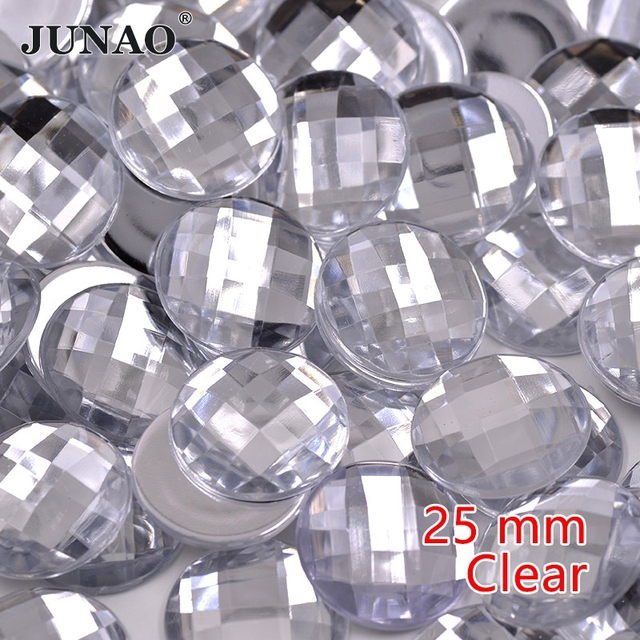 10afbb7d4c JUNAO 25mm Big Crystal Clear Rhinestones Flatback Non Hotfix Crystals Stones  Acrylic Gems Round AB Strass Beads for Clothing