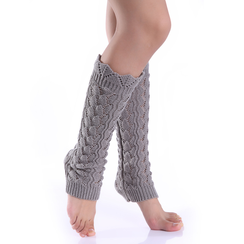 Fashion Explosions Hollow Wavy Side Imitation Lace Knitted Wool Warm Leg Sets Pile Of Socks Female Autumn And Winter Socks Cover