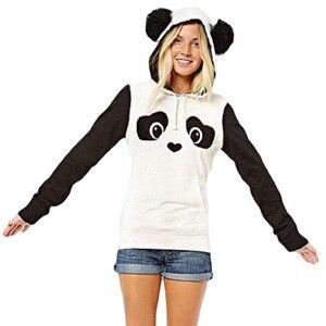 Image 3 - パンダのパターンの女性パーカー暖かい秋冬スウェットロングスリーおしゃれかわいいふわふわ帽子