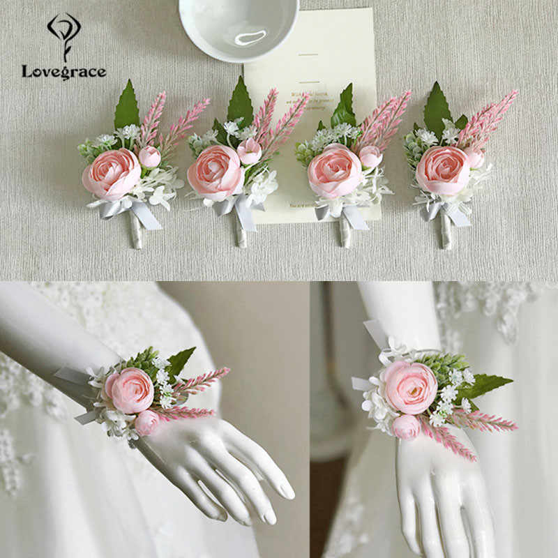 Wedding Accessories Boutonnieres Corsages Pink Roses Cuff Bracelets Bridesmaid Groomsmen Buttonhole Marriage Silk Wrist Corsages