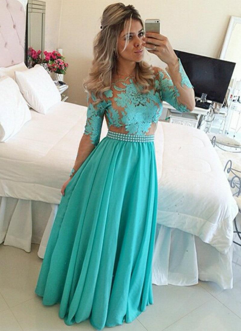 Prom     Dress   2019 Turquoise Chiffon Nude Tulle Appliques A line Evening   Dress   Floor Length vestidos de festa