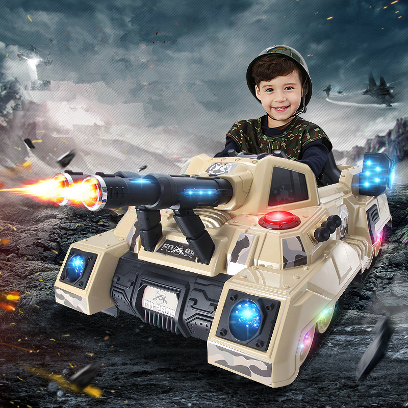 Children's Electric Tank Four Wheel Baby Carriage Remote Control Car Ride On Toys Children's Toys for Boys Cool Collectible Cars