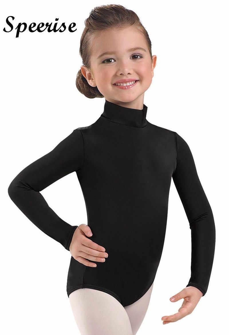 Kids Girls Gymnastics Ballet Leotard Dance Dress Long Sleeve Turtleneck Leotards