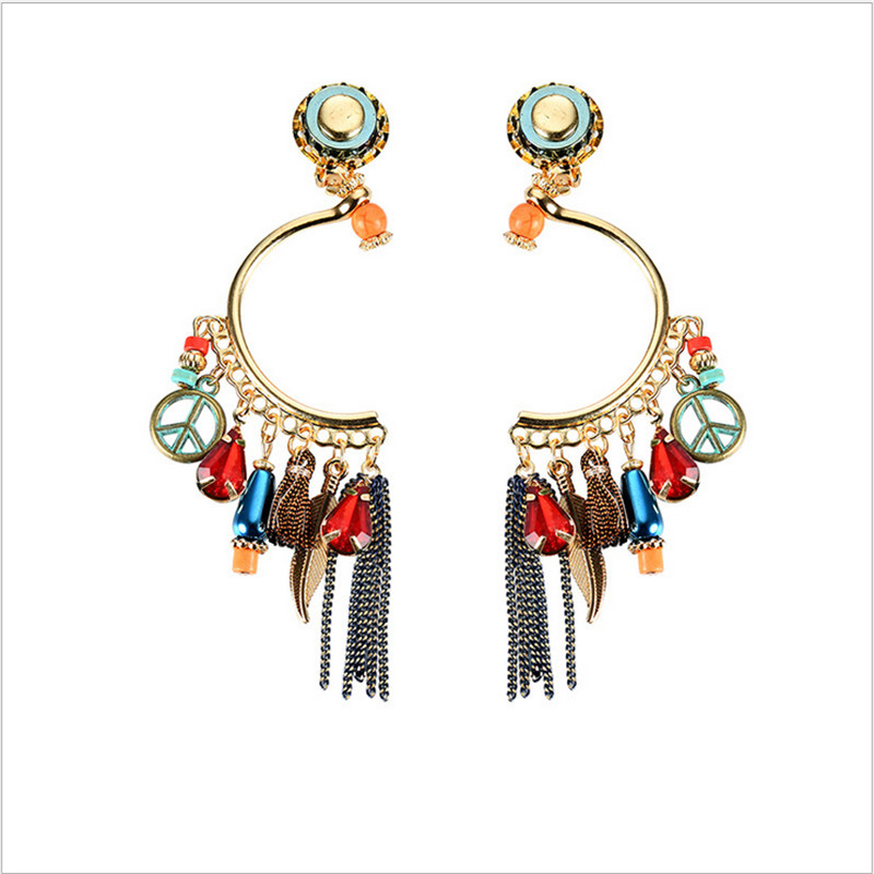 NJ Retro Round Tassel Bohemian Earrings Color Crystal Exaggerated Ladies Jewelery Wholesale