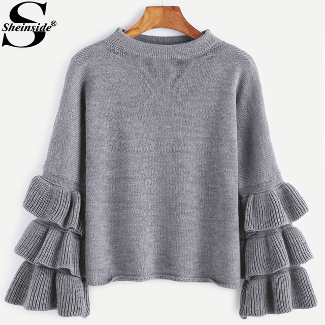 Sheinside Ruffle Sleeve Cute Women Sweaters and Pullovers 2017 ...