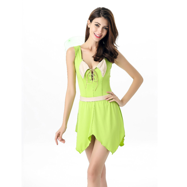 Vocole Adult Sexy Tinkerbell Costume Sleeveless Green Elf Fairy Tinker Bell Fancy Dress With Wings  sc 1 st  AliExpress.com & Vocole Adult Sexy Tinkerbell Costume Sleeveless Green Elf Fairy ...
