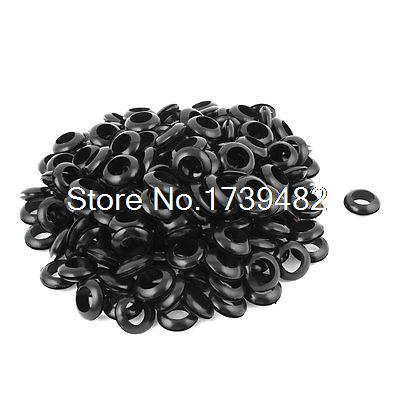 16mm Inner Dia Black Rubber Electrical Wire Grommets Gasket Protector 200 Pcs rubber round table foot cover protector 8mm inner dia 24 pcs
