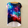 2016 Brand Design Summer Style Women T Shirt Asymmetric 3D Space Digital Print T-Shirt Harajuku Short Sleeve T Shirt Women Tops