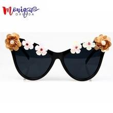 Monique Для женщин Солнцезащитные очки для женщин Сладкий цветок негабаритных солнцезащитные очки кошачий глаз Солнцезащитные очки для женщин для Для женщин Винтаж Оттенки Óculos De Sol