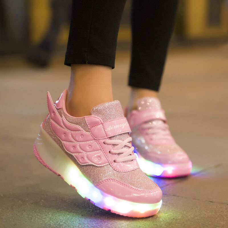 Double Wheels Roller Kids Light Up Shoes With Lights For Kids Children Casual Walking Sneakers Girls Boys Comfortable Led Flats 2017new children led light shoes with one two wheels kids pu leather high help roller skate shoes boys girls sneakers shoes