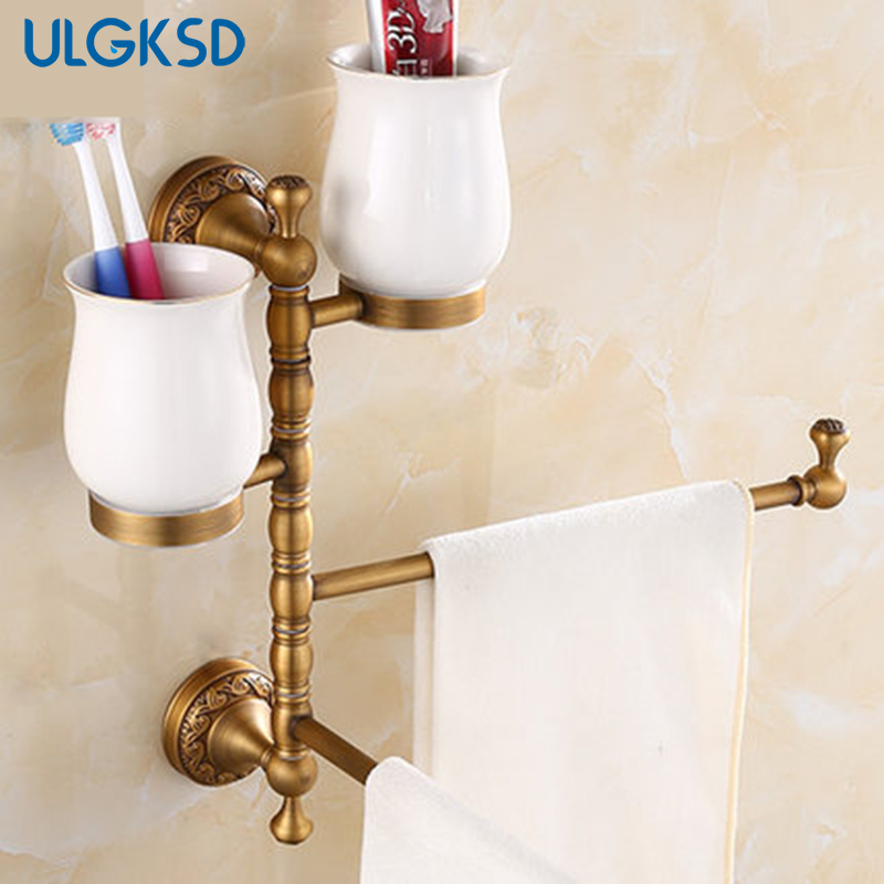 Bathroom Accessories Towel shelves Antique Brass Tooth Brushed Cup Holder Soap Dish Copper para bar and home european style brass black oil brushed solid brass bathroom soap holder ceramic cup soap basket bathroom accessories