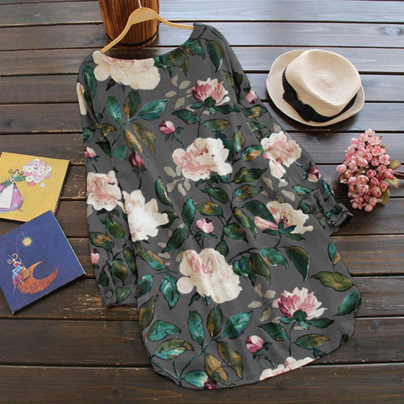 Women's Clothing Women Dress Sweet Flower Print Pattern Mini Casual Cotton Dresses For Women Stylish O Neck