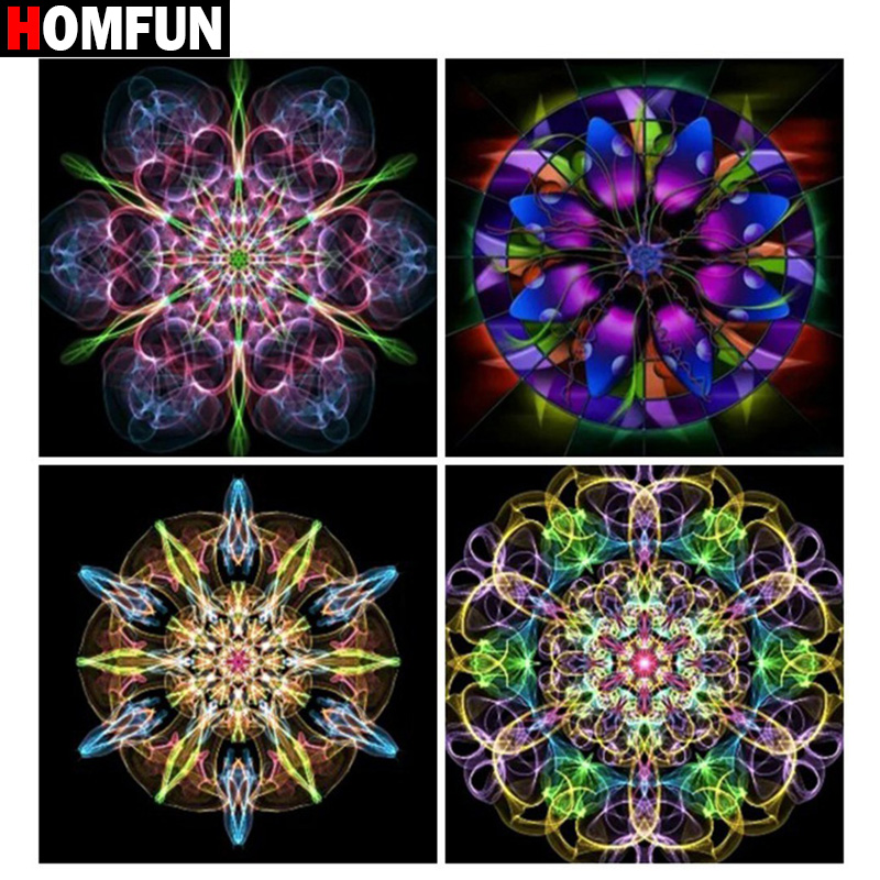 HOMFUN Full Square Round Drill 5D DIY Diamond Painting quot Religious Mandala quot 3D Embroidery Cross Stitch 5D Home Decor Gift in Diamond Painting Cross Stitch from Home amp Garden