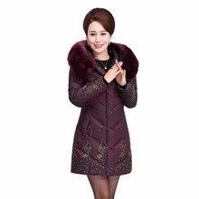 Новая зимняя куртка парка среднего возраста Для женщин большой Размеры хлопка с капюшоном меховой воротник толщиной Пух куртка длинное пальто женские Xl-5xl