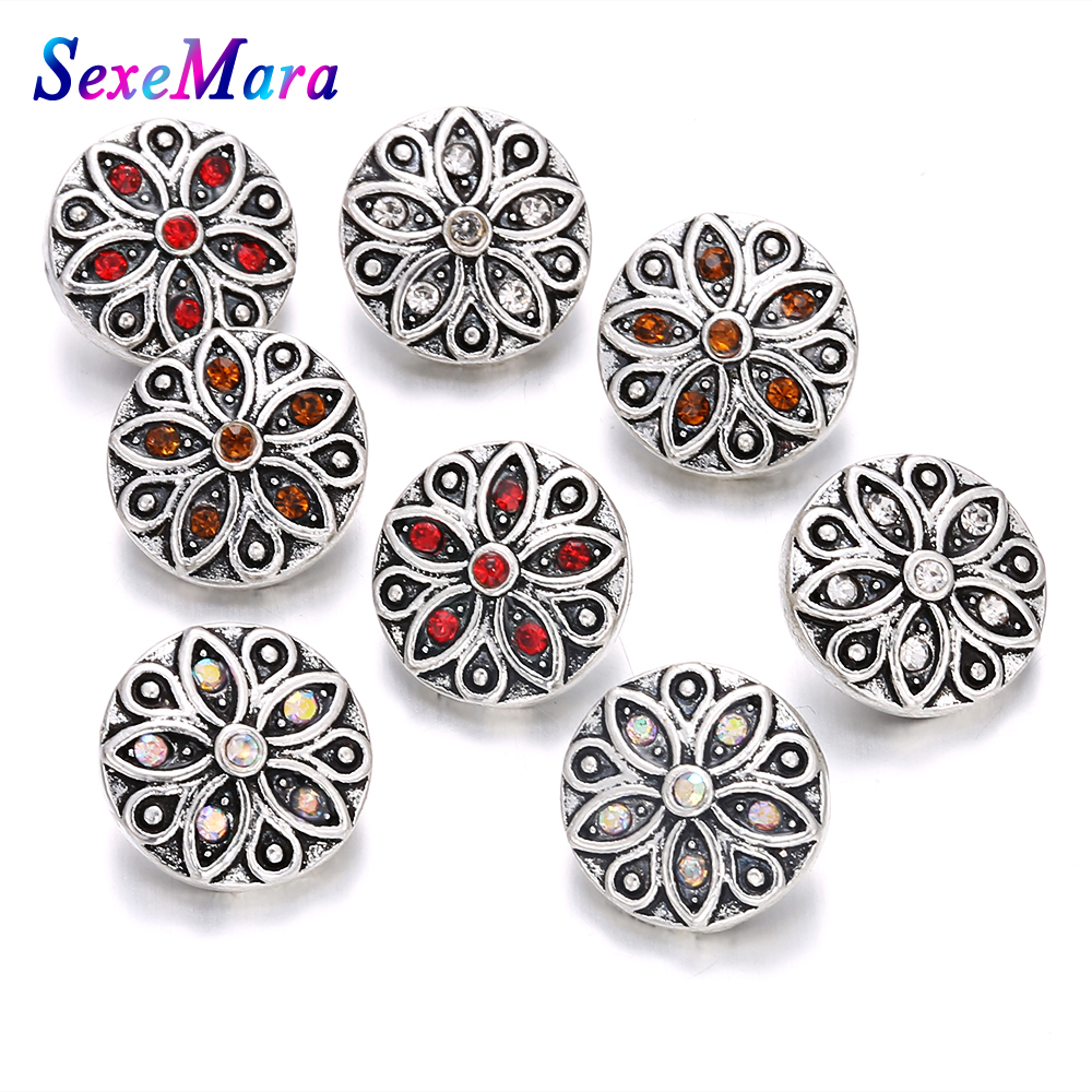 6pcs/lot Hot Wholesale High Quality 12mm Metal Snap Button Rhinestone Flower Styles Snaps Jewelry Fit 12mm Ring Bangle Jewelry image